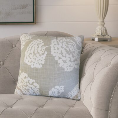 Martins Floral Cotton Throw Pillow Color: Gray
