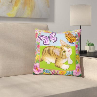 Buterfly Kitten Throw Pillow