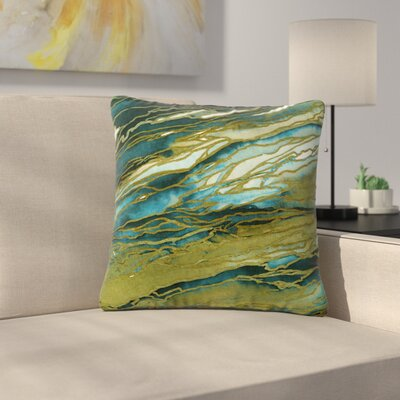Ebi Emporium Agate Magic Abstract Geological Painting Outdoor Throw Pillow Color: Olive/Teal/Blue, Size: 18