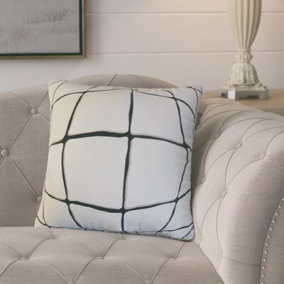 Berthold Checked Cotton Throw Pillow Color: Ink, Size: 18 x 18
