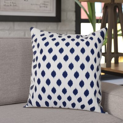 Alarice Cop-Ikat Geometric Print Throw Pillow Size: 26 H x 26 W x 1 D, Color: Spring Navy