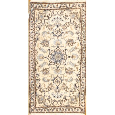 Persian Nain Hand-Knotted Ivory Area Rug