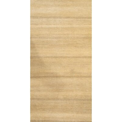 Modern Grass Hand-Knotted Wool Tan Area Rug