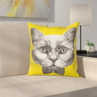 Cute Cat Glasses Bow Tie Square Pillow Cover Size: 18 x 18