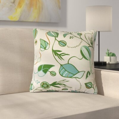 Styron Floral Cotton Throw Pillow Color: Green