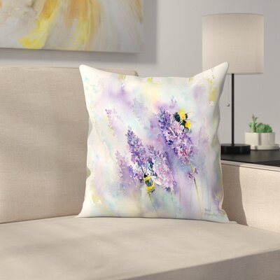 Bees and Lavender Throw Pillow Size: 14 x 14