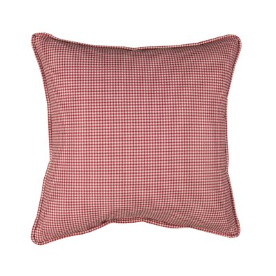 Feliz Gingham Piped 100% Cotton Throw Pillow Color: Red