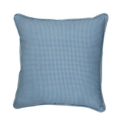 Feliz Gingham Piped 100% Cotton Throw Pillow Color: Navy Blue