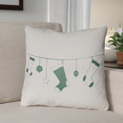 Socks Indoor/Outdoor Throw Pillow Size: 18 H x 18 W x 4 D, Color: White / Green