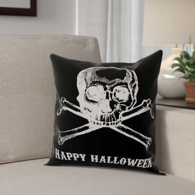 Skull and Crossbones Happy Halloween Throw Pillow Pillow Use: Outdoor