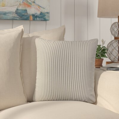 Montego Stripes Cotton Throw Pillow Color: Slate