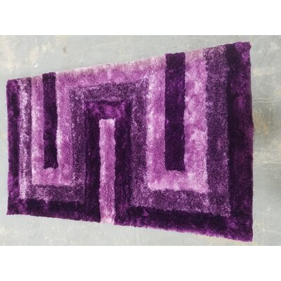 Letson Shaggy Hand-Tufted Purple Area Rug Size: 80 W x 150 L