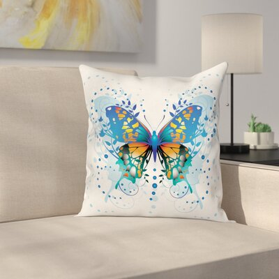 Swallowtail Butterfly Curls Art Square Cushion Pillow Cover Size: 24 x 24