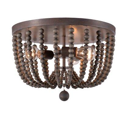 Tilden Wood Bead 3-Light Flush Mount Shade Color: Gray