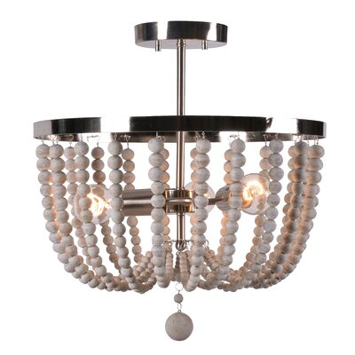 Tilden Wood Bead 3-Light Semi Flush Mount Shade Color: White