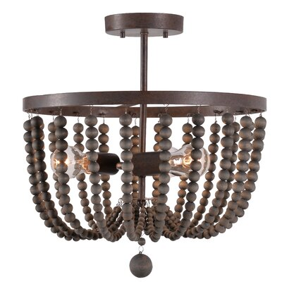 Tilden Wood Bead 3-Light Semi Flush Mount Shade Color: Gray