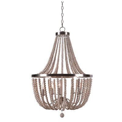 Tilden Wood Bead 5-Light Candle-Style Chandelier Finish: White