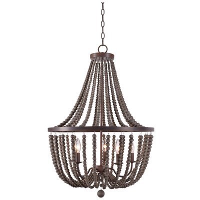 Tilden Wood Bead 5-Light Candle-Style Chandelier Finish: Gray