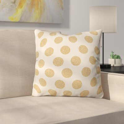 Throw Pillow Size: 16 H x 16 W x 4 D, Color: White/Gold