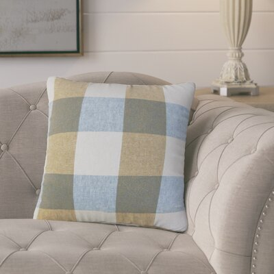 Porath Plaid Linen Throw Pillow Color: Blue