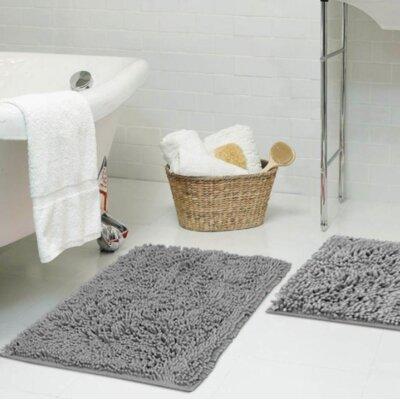 Dahlstrom Chenille Bath Rug Size: 17 W x 24 L, Color: Gray