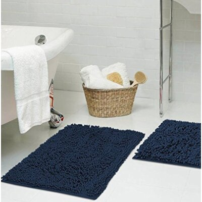 Dahlstrom Chenille Bath Rug Size: 17 W x 24 L, Color: Navy