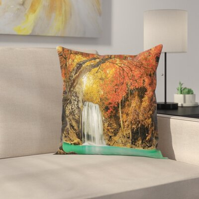 Waterfall Autumn Nature Forest Square Pillow Cover Size: 16 x 16