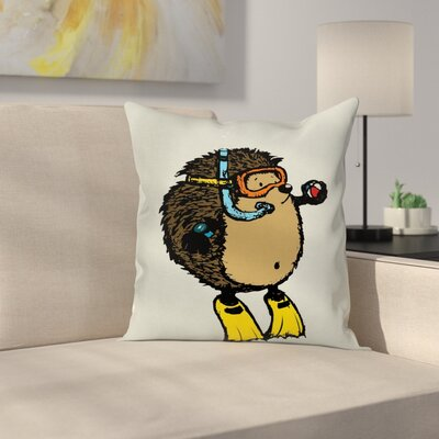 Scuba Diver Hedgehog Square Pillow Cover Size: 20 x 20