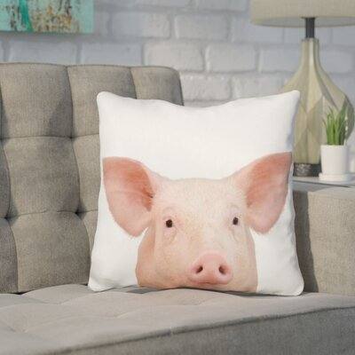 Kells Pig Throw Pillow Color: Pink