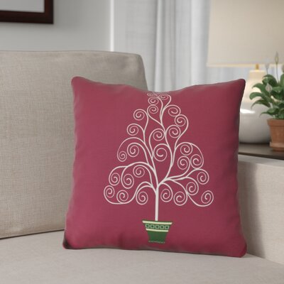 Filigree Tree Outdoor Throw Pillow Size: 16 H x 16 W, Color: Burgundy