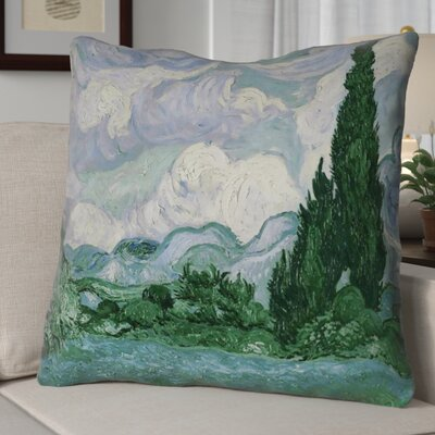 Bristol Woods Wheatfield with Cypresses Euro Pillow Color: Blue/Green