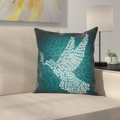 Fabric Case Dove Symbol with Peace Square Pillow Cover Size: 24 x 24