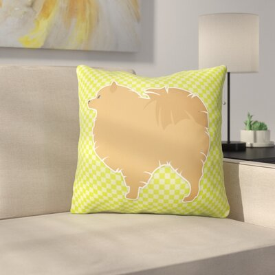 Pomeranian Square Indoor/Outdoor Throw Pillow Size: 18 H x 18 W x 3 D, Color: Green