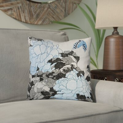 Clair Peonies and Butterfly Square Linen Throw Pillow Size: 26 H x 26 W, Color: Gray/Blue