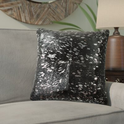 Graham Leather Throw Pillow Color: Silver/Black