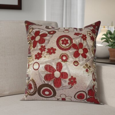 Merlene Daisy Decorative Throw Pillow Color: Burgundy / Gold