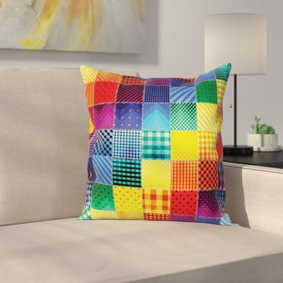 Rainbow Retro Patchwork Square Pillow Cover Size: 16 x 16