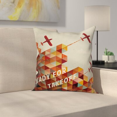 Vintage Airplane Geometric Aged Square Pillow Cover Size: 16
