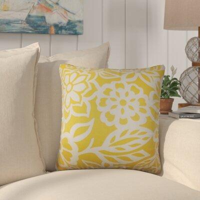 Jinn Floral Cotton Throw Pillow Color: Yellow