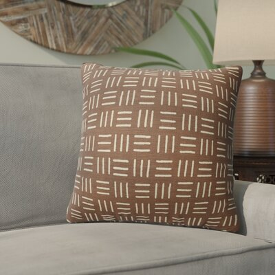 Bemelle Mud Cloth Square Throw Pillow Size: 16 H x 16 W, Color: Brown/ Ivory