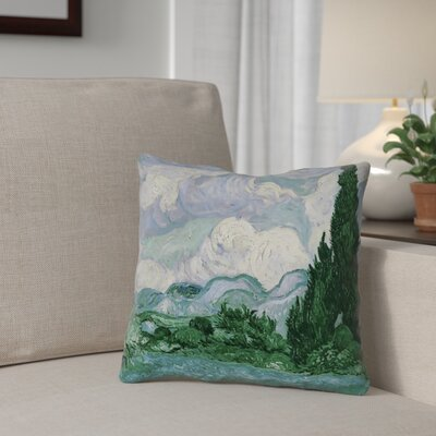 Meredosia Wheat Field with Cypresses Throw Pillow Color: Blue/Green, Size: 14 H x 14 W