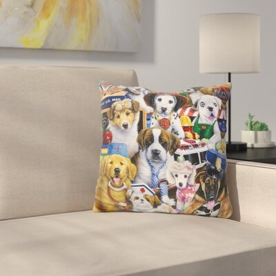Working Puppies Throw Pillow