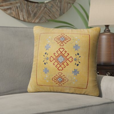 Janine Distressed Indoor/Outdoor Throw Pillow Size: 18 H x 18 W x 5 D, Color: Orange/ Blue Red