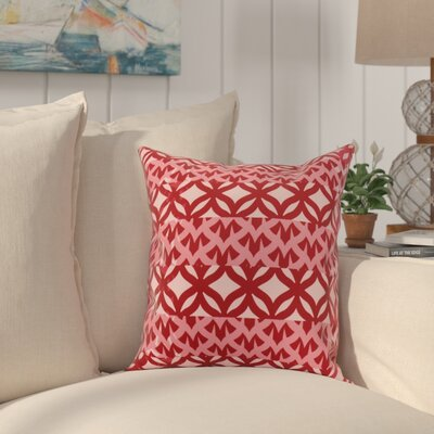 Crider Simple Geometric Print Indoor/Outdoor Throw Pillow Color: Red, Size: 18 x 18