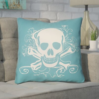 Calindra Skull and Bone Throw Pillow Size: 20 H x 20 W x 4 D, Color: Turquoise