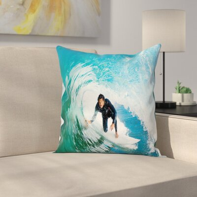 Wave Surfer Sport Square Cushion Pillow Cover Size: 24 x 24