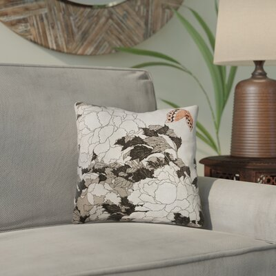 Clair Peonies with Butterfly Square Throw Pillow Color: Orange/Gray, Size: 18