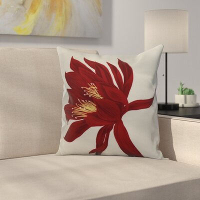Meekins Floral Print Indoor/Outdoor Throw Pillow Color: Red, Size: 16 x 16