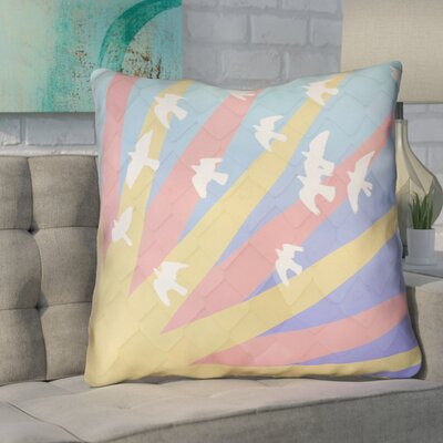 Enciso Birds and Sun Faux Leather Euro Pillow Color: Blue/Yellow/Orange