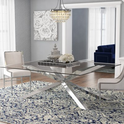 Rebecka Glass Dining Table Color: Silver